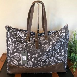 Anemone weekender Tote Bag Upcycled Canvas XL
